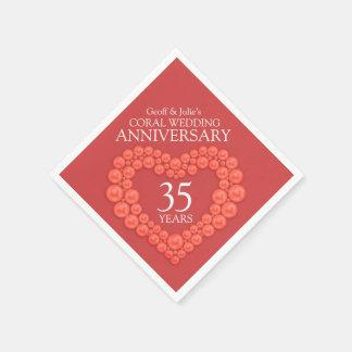 Guardanapo nomeados 35o coração do aniversário de