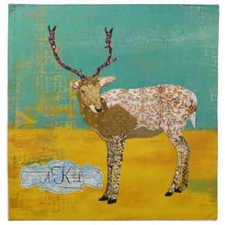 Guardanapo ornamentado dos cervos da cerceta doura