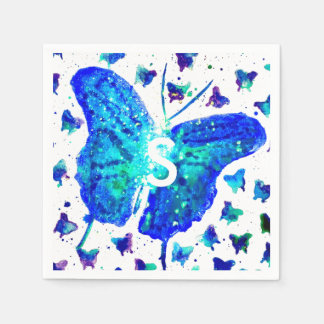Guardanapo pintados mão do cocktail da borboleta