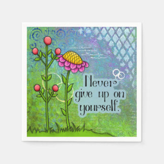 Guardanapo positivo adorável da flor do Doodle do