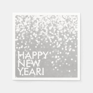 Guardanapo - prata Sparkling do feliz ano novo