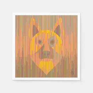 Guardanapo sérios coloridos do cão amarelo
