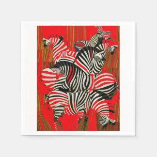 Guardanapo vermelhos da zebra