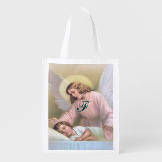 Guardando o anjo das crianças, vintage, reprodução sacolas reusáveis