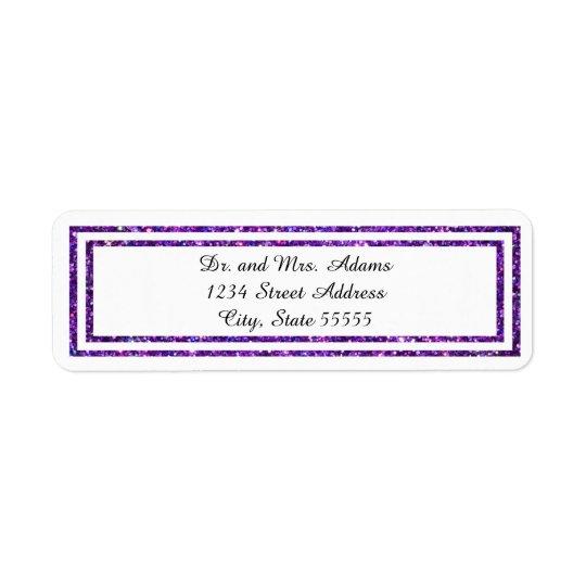 Guarnição brilhada roxa - etiqueta de endereço
