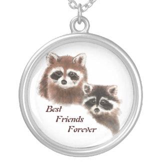 Guaxinins bonitos, melhores amigos para sempre, BF Colar Banhado A Prata