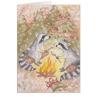 Guaxinins que Roasting o cartão do feriado dos