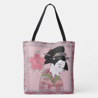 Gueixa da flor de cerejeira bolsa tote