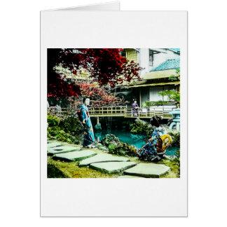 Gueixa do vintage na árvore de bordo da casa de cartão comemorativo