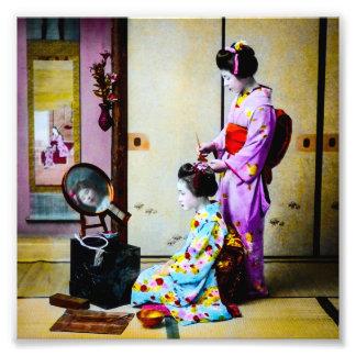 Gueixa dois que faz o japonês velho do vintage do impressão de foto