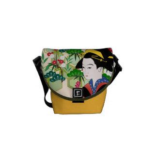 Gueixa japonesa tradicional bolsa mensageiro