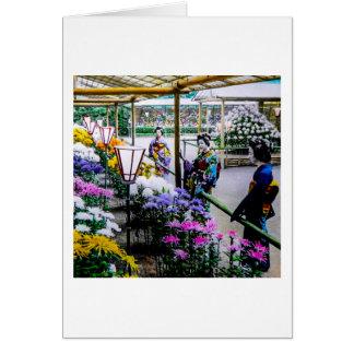 Gueixa na mostra de flor em Yokohama velho Japão Cartão Comemorativo