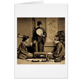 Gueixa que joga o mestre no jogo do vintage do 囲碁 cartão comemorativo
