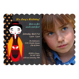 Gueixas e convite da foto da festa de aniversário