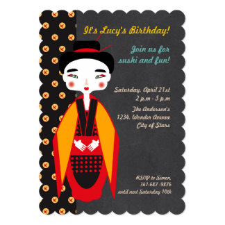 Gueixas e convite de aniversário do sushi