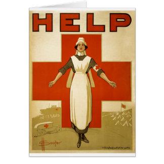 Guerra mundial 2 da propaganda da ajuda da enferme cartão