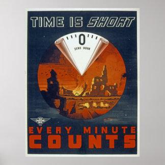 Guerra mundial 2 do vintage - poster da hora zero