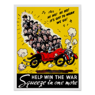 Guerra mundial 2 do vintage que Carpooling Poster