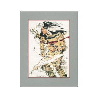 Guerreiro com seta flamejante impressão de canvas esticada