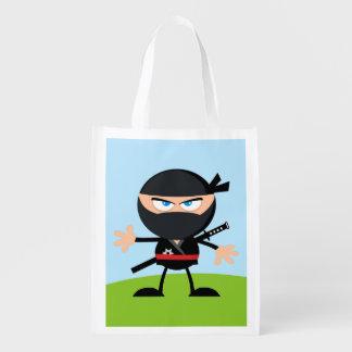 Guerreiro de Ninja dos desenhos animados Sacolas Reusáveis