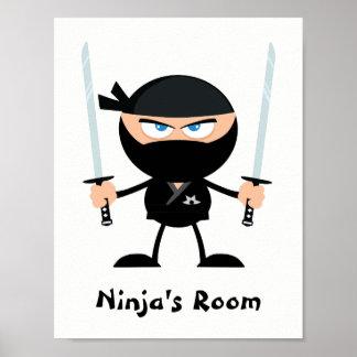 Guerreiro personalizado dois Katana de Ninja do Pôster