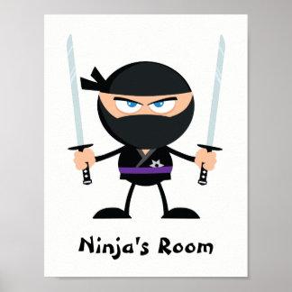 Guerreiro roxo personalizado dois Katana de Ninja Pôster