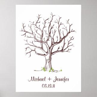 Guestbook da árvore da impressão digital do casame