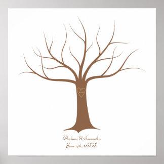 Guestbook do casamento da árvore da impressão digi