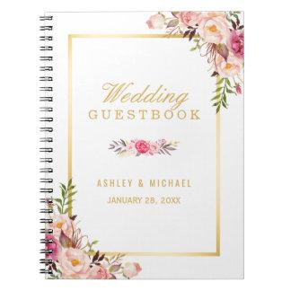 Guestbook do casamento - rosa chique elegante do cadernos