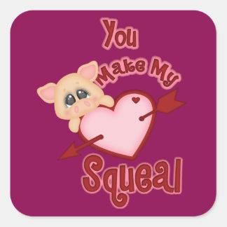 Guincho do coração de porco dos namorados adesivo quadrado