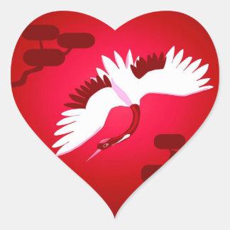 Guindaste japonês adesivo coração