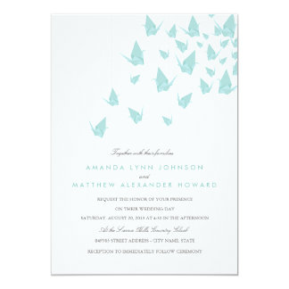Guindastes de papel de Origami que Wedding Convite 12.7 X 17.78cm