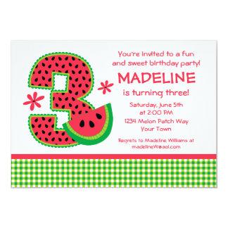 Guingão do aniversário de 3 anos da melancia convite personalizado