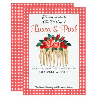 Guingão do país e convite floral do casamento