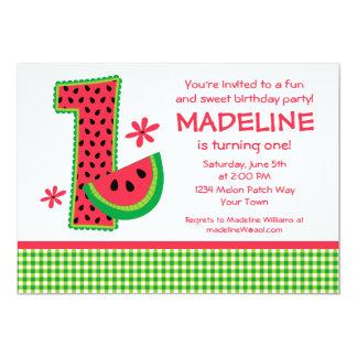 Guingão do primeiro aniversario da melancia convite personalizados