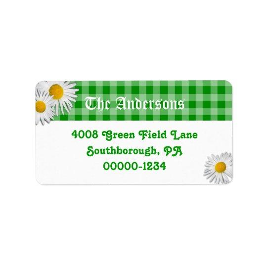 Guingão verde e etiquetas de endereço feitas sob etiqueta de endereço