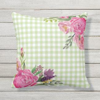 Guingão verde e travesseiro exterior das peônias almofada para ambientes externos