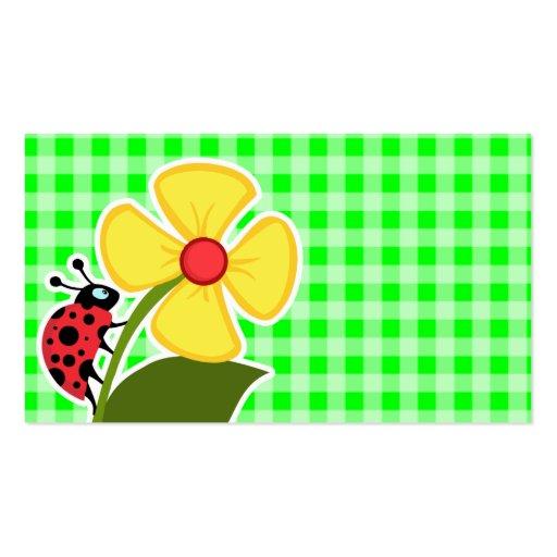 Guingão verde elétrico; ; Joaninha Cartões De Visita