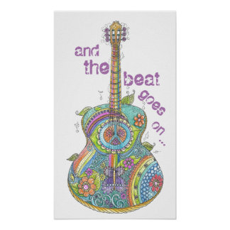 "Guitarra 14"" do hippy x 24"" poster pôster"