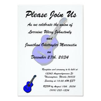 guitarra acústica blue.png simples gráfico convite 12.7 x 17.78cm