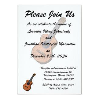 guitarra acústica brown.png simples gráfico convite 12.7 x 17.78cm