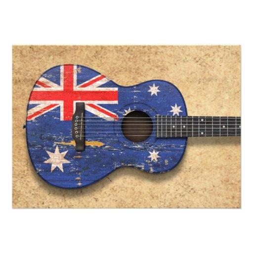Guitarra acústica da bandeira australiana gasta convites personalizado