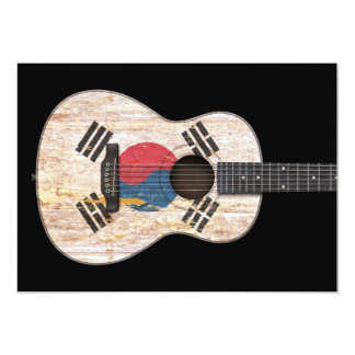 Guitarra acústica da bandeira coreana sul gasta, convites personalizado