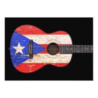 Guitarra acústica da bandeira gasta de Puerto Convite Personalizados