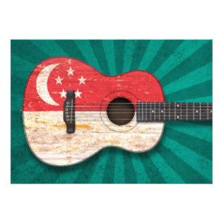 Guitarra acústica da bandeira gasta de Singapore Convites Personalizados