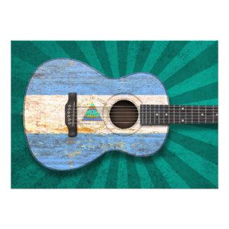 Guitarra acústica da bandeira nicaraguense gasta convite