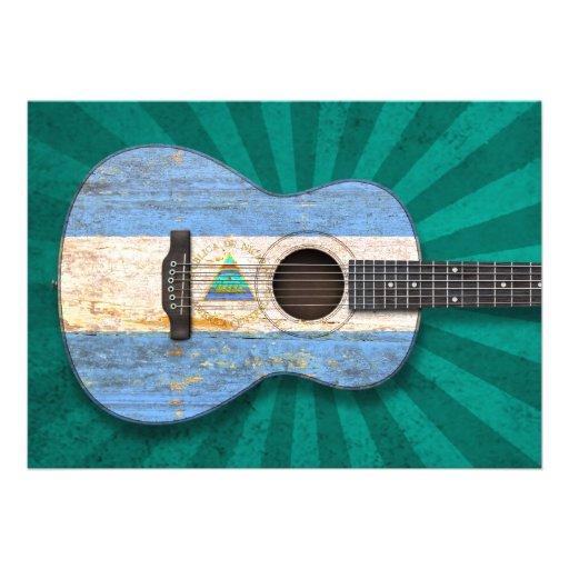 Guitarra acústica da bandeira nicaraguense gasta,  convite