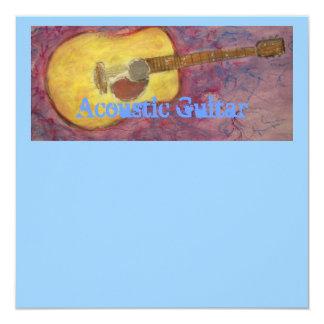 guitarra acústica do patina amarelo convite quadrado 13.35 x 13.35cm