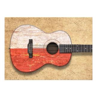 Guitarra acústica envelhecida e vestida da bandeir convites personalizados
