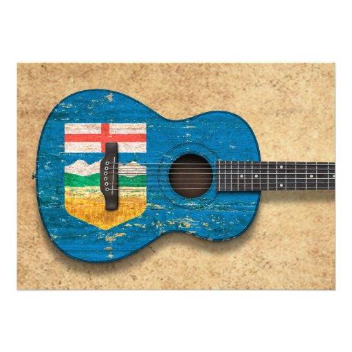Guitarra acústica envelhecida e vestida da bandeir convites personalizado